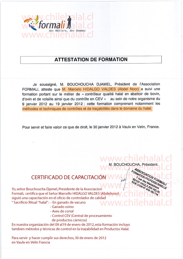 Director Chilehalal Obtiene un certificado de Capacitacion sobre la trazabilidad Halal.