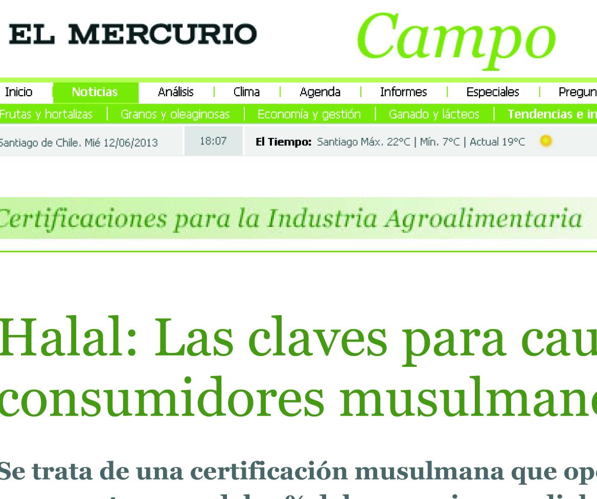Una entrevista sobre el halal en El mercurio Campo