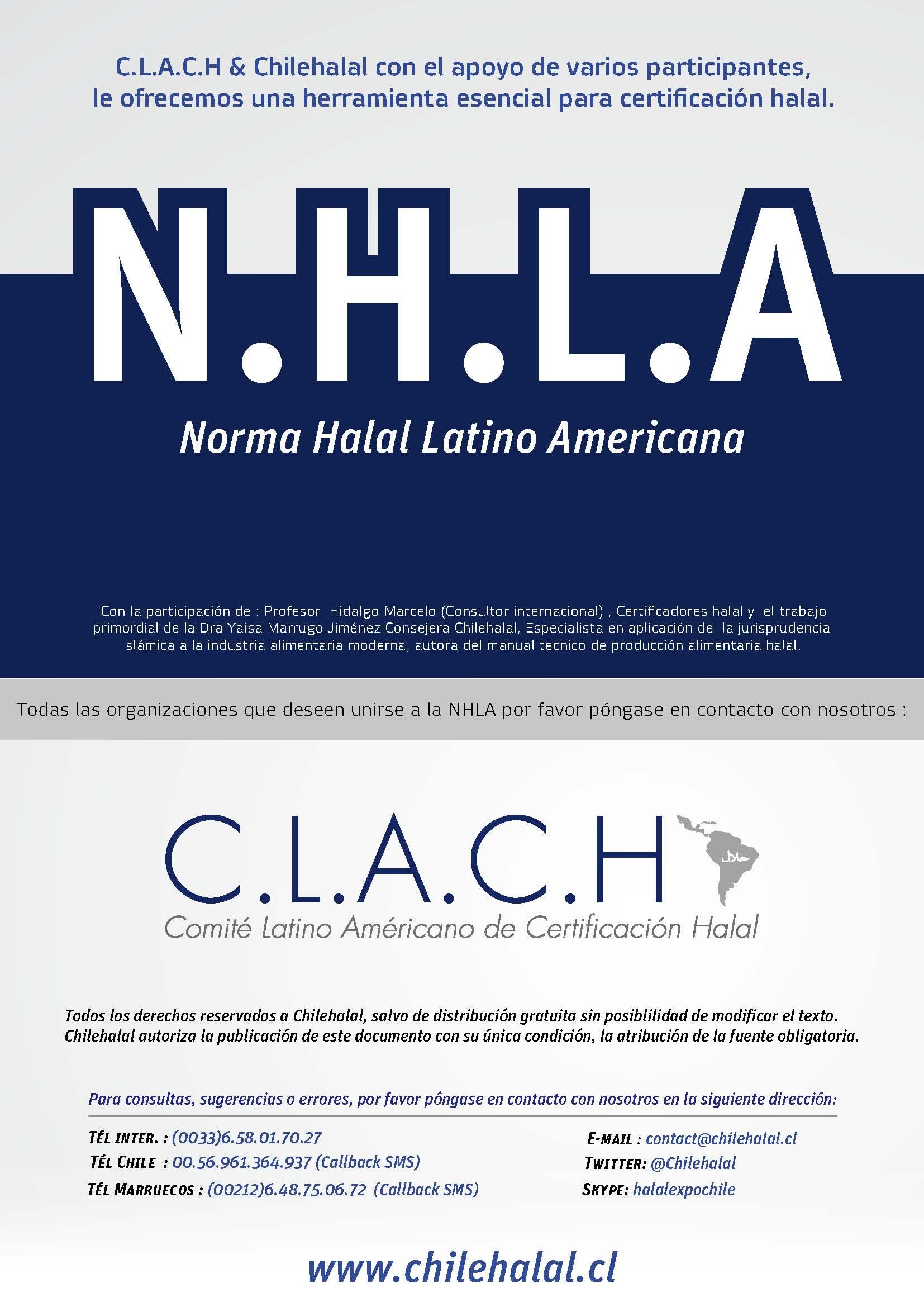 Norma Halal Latino Americana, únete al C.L.A.C.H ( Comité Latino Americano de certificación halal)