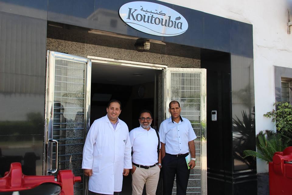 Mr Yuness Moussalak director de ventas de la holding Koutoubia (Marruecos), con el director de Chilehal Mr Hidalgo y su representante Mohamed Khechan en Rabat (Marruecos).